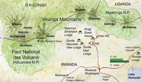 Map of Volcanoes National Park Rwanda